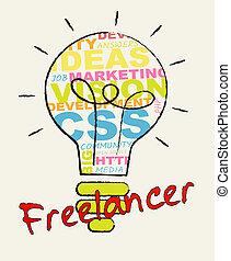 Freelancer Lightbulb Shows Subcontracting Freelancers 3d...