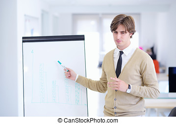 Freelancer looking at his ideas written on paper and stuck to a wall