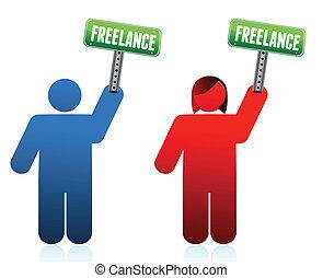 freelancer, macho, hembra, señales