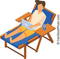 Freelancer on deck chair icon, isometric style