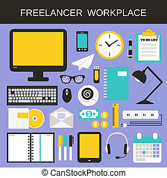 freelancer, set, posto lavoro, icone