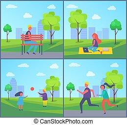 freelancer, vetorial, parque, ilustração, trabalhando