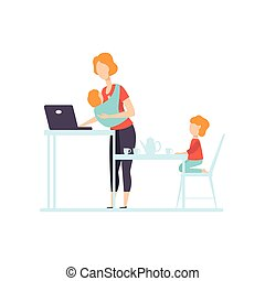 freelancer, vettore, figlia, genitore, lavorativo, lei, donna d'affari, laptop, giovane, illustrazione, prossimo, bambino, lei, computer, mamma, fionda, gioco, più vecchio, bambino, mamma