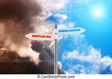 "Freelancer vs Employee - Road sign ""Freelancer - Employee""..."