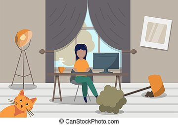 Freelancer woman working online from home. working with laptop at living room among mess. Stock vector illustration