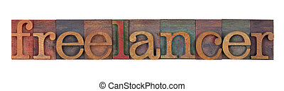 freelancer - wood type - freelancer - word in vintage wood...