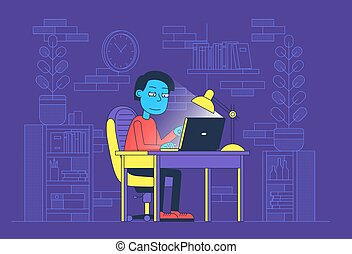 Freelancer worked at night in home office with laptop. Late ...