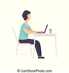 Freelancer working at the table with laptop, remote working, freelance concept vector Illustration on a white background