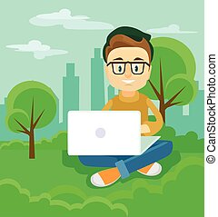 Freelancer working outdoor