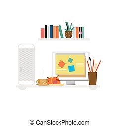 Freelancer Workspace Flat Concept