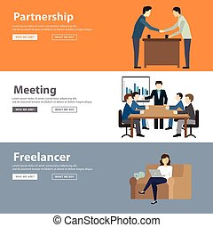 Freelancer workspace worldwide collaboration and remote jobs flat color decorative icon set isolated vector illustration