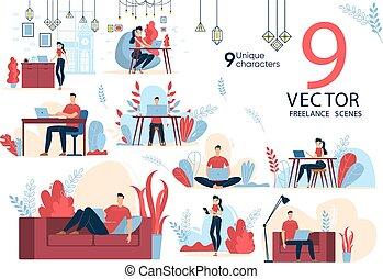 freelancers, loisir, vectors, plat, ensemble, scènes, travail