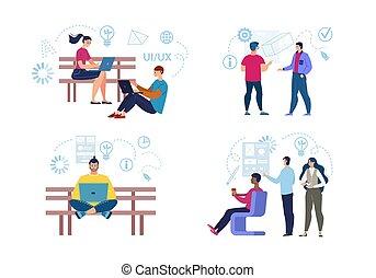freelancers, vecteur, caractères, fonctionnement, ensemble, plat
