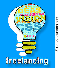 Freelancing Lightbulb Shows Subcontracting Freelancers 3d...