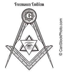 Freemason square and compass symbols