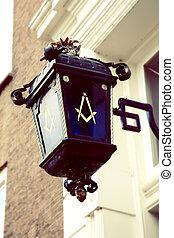 Freemason symbol on street lamp - city street lamp with...