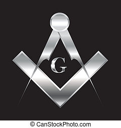 Freemasonry symbol - Silver freemason symbol of set square...