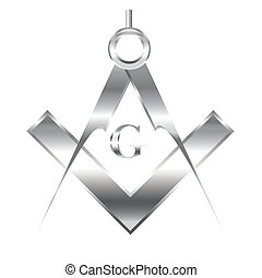 Freemasonry symbol on white - Vector illustration of...