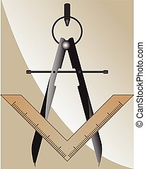 Vector illustration of the masonic square and compass