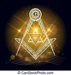 Freemasony sign on shining background