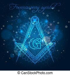 Freemasony symbol on blue shining background