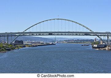 freemont, 橋, ポートランド, 交通, oregon.