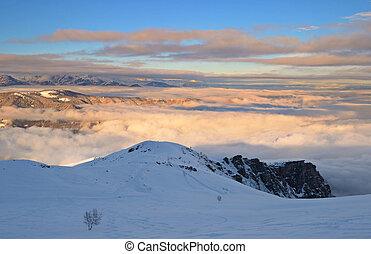 Freeride at sunset - Ski touring tracks (back country ski...