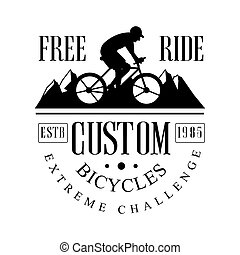 Freeride custom bicycles extreme challenge vintage label. Black and white vector Illustration