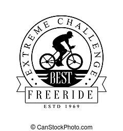 Freeride extreme challenge vintage label. Black and white...