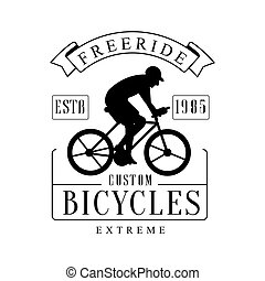 Freeride extreme custom bicycles vintage label. Black and white vector Illustration