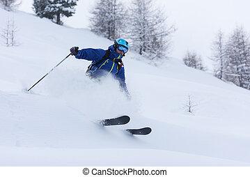 freeride, nieve, profundo, polvo, esquiador que esquía