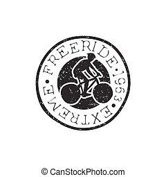 freeride, runder , weinlese, briefmarke