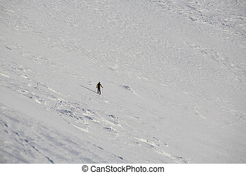 Freeride skier in mountains