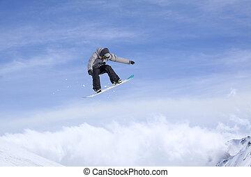 freeride, snowboard, sport., saltar, montañas., jinete,...