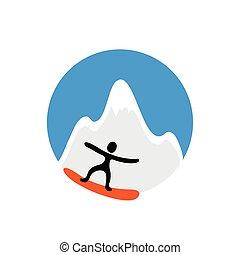 freeride, snowboarder, śnieżny, wektor, logo, góra