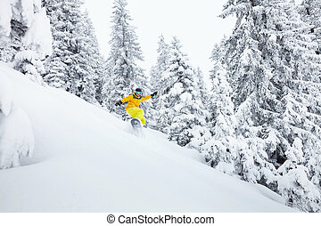 Freeride snowboarder on ski slope - Snowboard freerider...