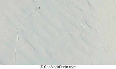 Freeride snowboarding. Top view. - Freeride snowboarding in...