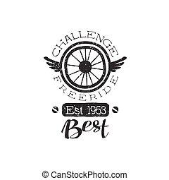Freeride Vintage Label With Winged Wheel