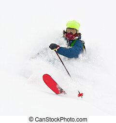 Freerider in a snow powder - Freerider in cloud of snow...