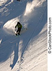 Freerider skiing in Caucasus mountains