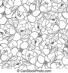 Freesia and apple flower seamless vector pattern.