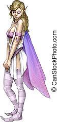 Freesia Flower Fairy - Purple freesia flower fairy woman