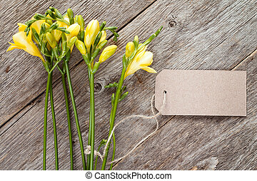 Freesias with blank tag