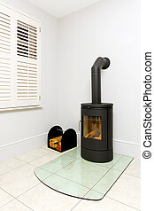 Freestanding wood stove - Freestanding black cast iron wood...
