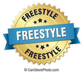 freestyle 3d gold badge with blue ribbon
