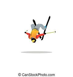 freestyle, athlete., vecteur, illustration.