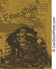 Grunge illustration of a biker jumping on a BMX with building silhouette on background