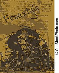 freestyle biker - Grunge illustration of a biker jumping on ...