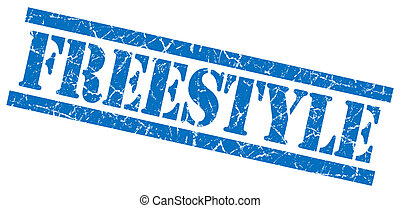 freestyle blue grungy stamp isolated on white background