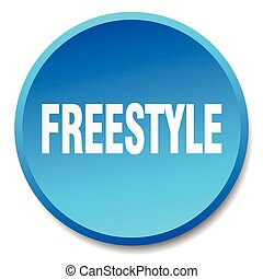 freestyle blue round flat isolated push button